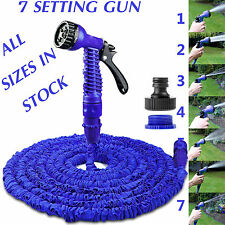 EXPANDABLE GARDEN HOSE FLEXIBLE 25/50/75/100 PIPE EXPANDING WITH SPRAY GUN BLUE