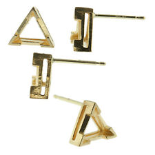 14k Yellow Gold V-End Triangle Stud Earring Mounting Setting Push Back Post USA