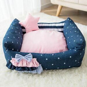New Princess Pet Dog Cat Sofa Bed House Kennel Mat Cushion +pillow Warm Indoor
