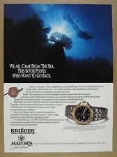 1991 Krieger Tidal Chronometer watch scuba diver photo vintage print Ad