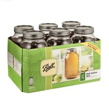 Glass Mason Jars with Lids & Bands, Regular Mouth,  Ball, 64 oz, 6 Count - NEW