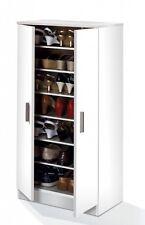 Hallway 2 Door Shoe Storage Cabinet Unit with 7 Shelves White Melamine