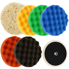 "Waffle Foam & Wool Buffing & Polishing Pad Kit w/ 6 - 8"" Pads Grip Backing Plate"