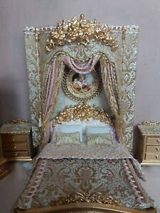 Dolls House bed  night stand night stand Canopy picture  1:12 scale