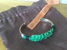Bracelet Gas massai jonc argent cuir vert vif 💚