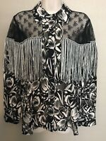 170 Sui x INC International Concepts Lace-Yoke Fringe Silk Blend Western Shirt M