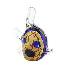 "New 9"" Hand Blown Art Glass Fish Figurine Sculpture Statue Dark Blue Amber"