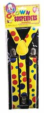 Clown Suspenders Yellow with Colorful Polka Dots Clown Costume Accessory
