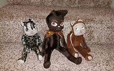 Vintage plush artisan Cat soft sculpture LOT of 3 OOAK