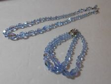 VINTAGE CRYSTAL CHOKER AND MATCHING DOUBLE STRAND BRACELET LIGHT BLUE SET LOVELY