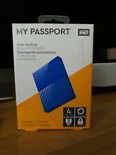 Nuevo, sin abrir, WD My Passport 4 TB Disco Duro Portátil, Azul, 2 año de garantía.