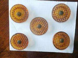 Set 5 Vintage Antique Amber Brown Glass Checkered Drawer Pulls Handle Knobs
