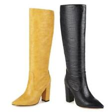 Womens Mid Calf Knee Boots Pull On Block Heel Pointy Toe Knight Shoes 46 47 48 L