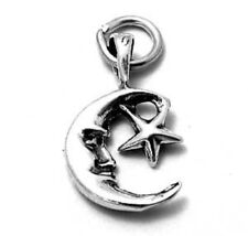925 Sterling Silver Man in the Moon w/ Star Charm