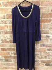 ❤ BODEN Size 12 Ladies Purple With Golden Beaded Stretch Jersey Tunic Dress