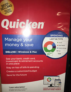 Quicken Deluxe Personal Finance Manage Your Money Save SEALED 2019 Mac/windows