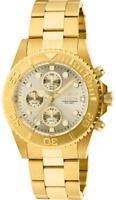 Mens Invicta Pro Diver 18k GOLD Plated SS Chronograph Champagne Dial Watch