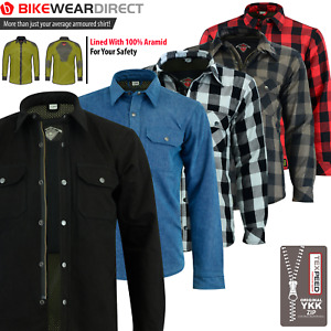 Motorbike Motorcycle Shirt Jacket Aramid Lined Protection With CE Biker Armour