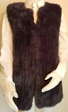 Faux Fur Womens S Vest Furry Sleeveless Jacket Blue Long Soft Wrap Love Token