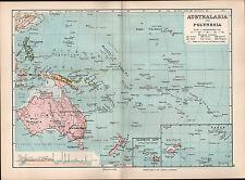 1895 Vittoriano mappa ~ Australasia Polinesia colonie europee Sandwich Figi