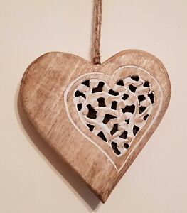 Wooden hanging heart wall art, hand made in India, light wood-17.5cm wide NEW