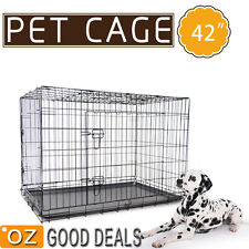"""XL Extra Large Foldable Metal Pet Dog Puppy Cage Crate Tray Kennel Enclosure 42"""""""