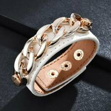 Punk Gothic Rock Chain Wide Leather Cuff Bracelet Wristband Bangle Women Jewelry