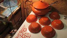 Vintage Orange Enamelware Soup Tureen Ladle &  Bowls