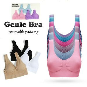 Genuine Genie Bra Set of 3 Comfort Support Seamless Shapewear  Bra Removable Pad