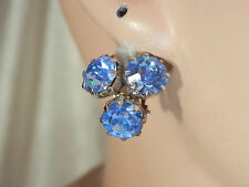 Weiss Signed Vintage 1950s Stunning Sparkly Blue Rhinestone Earrings 16M4