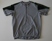 Bellwether Gray/Black/Green 1/2 Zip Cycling Jersey Back Pockets Size M Unisex