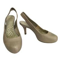 CLARKS Cushion Soft Beige Leather Pearl Shimmer Slingback Heels Size 6 UK