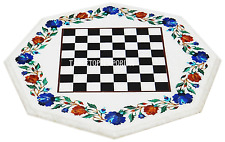 """18"""" White Marble Coffee Chess Table Top Rare Marquetry Inlay Art Valentine Decor"""