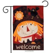"""Scarecrow Fall Applique Garden Flag Autumn 12.5"""" x 18"""" Briarwood Lane"""
