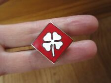 WWII MILITARY 4TH US ARMY INSIGNIA lapel PIN RED WHITE FOUR leaf CLOVER
