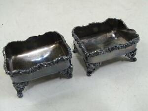 Antique Silver Plated Individual Salt Cellar Meriden Footed Victorian 1800s Vtg
