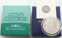 2012 France Lunar Year of the Dragon 10 Ten Euro Silver Proof Coin Box Coa