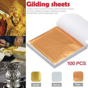100X Gold/Silver Leaf Sheets Foil Art Crafts Design Gilding Paper Scrap Decor UK
