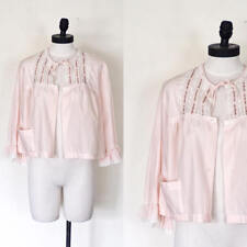 Pink Lace Detail Bed Jacket | Size Large - L/LX 60s Retro Pajama Top | Vintage L
