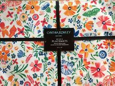 """Cynthia Rowley Colorful Abstract Florals Set of (4) 13""""x19"""" Placemats"""