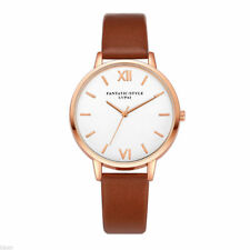 Ladies Fashion Rose Gold White Faced Quartz Roman Numeral Brown Band Wrist Watch