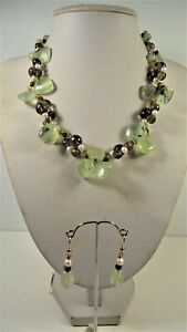 Lee Sands Prehnite, Smokey Quartz, CFWP & Glass Necklace & Earring set