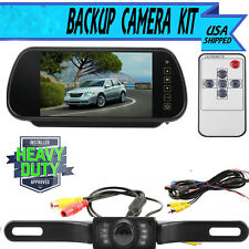 "7"" LCD Screen Car Rear View Backup Mirror Monitor+Wired Reverse IR Camera Kit OB"