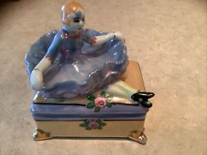 "Vintage Lusterware MADE IN JAPAN Cigarette Box With Skirtholder Lady 4"" Long"