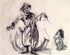 """Julian Ritter-Clown With Child-Charcoal on Vellum_ 19"""" x 24"""" Un-Signed- 312"""