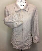Chico's Women Jacket Cotton Blend Zip Up 3/4 Sleeve Animal Print Cheetah Sz 3 XL