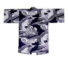 "Japanse Happi Coat Yukata Kimono Robe Unisex 36/"" Cotton Navy Chain Made in Japan"