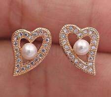 18K Gold Filled Earrings Gemstone Topaz Declining Heart Pearl Ear Stud Porm Lady