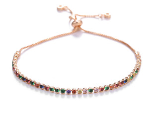 Adjustable Rose Gold H Quality Zirconia Diamond Slider Tennis Bracelet Jewellery