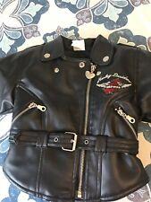 Harley Davidson Child's Faux Leathet Motorcycle Jacket Black Sz 2 Years